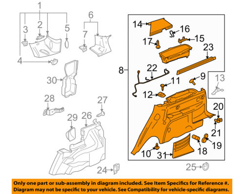 2006 CADILLAC SRX REAR RIGHT SIDE ROCKER PANEL END TRIM MOULDING OEM 74188