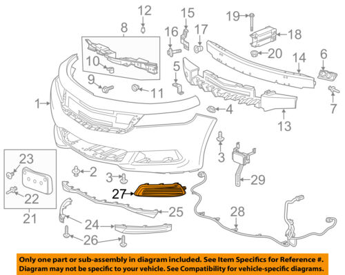 Chevrolet GM OEM 14-16 Impala Front Bumper Grille-Trim Cover Right 22738852