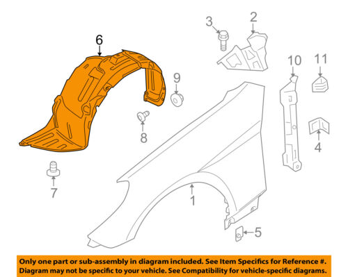 Passenger Side Splash Shield For 2010-2012 Hyundai Genesis Coupe Front