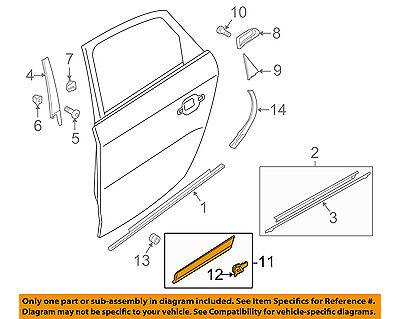 AUDI OEM 09-16 Q5 Rear Door Body Side-Lower Molding Trim Right 8R0853970BGRU