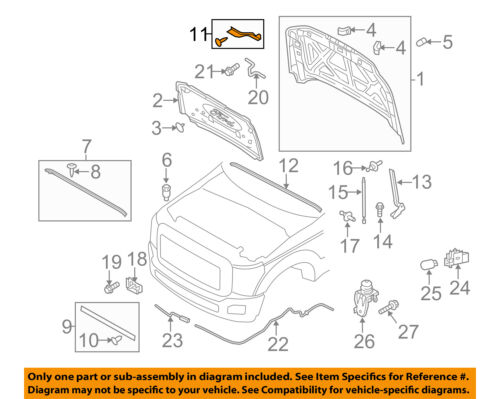FORD OEM 11-16 F-350 Super Duty Hood-Side Weatherstrip Seal Right BC3Z16A238G