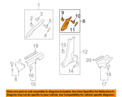Genuine Hyundai 85865-2B210-J9 Gate Pillar Trim Assembly Lower Right