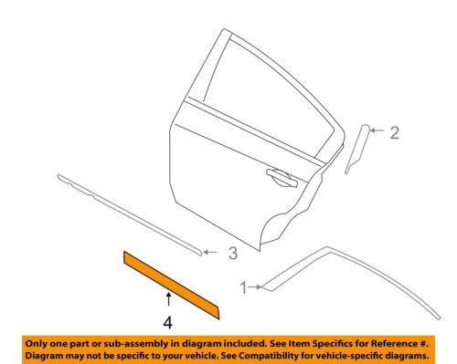 Rear Primed Driver Side Door Molding and Beltlines For Altima 07-12