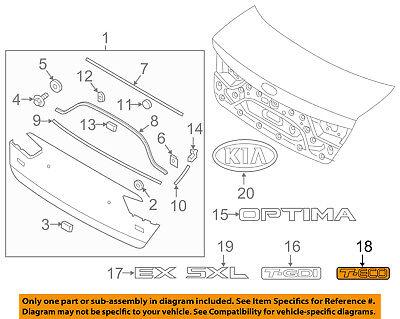 KIA OEM 16-18 Optima Trunk Lid-Emblem Badge Nameplate 86319D4000