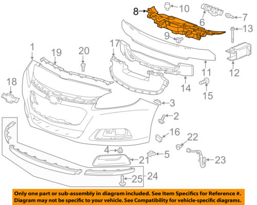 Chevrolet GM OEM 13-15 Malibu Front Bumper Grille Grill-Upper Support