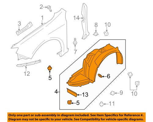 SUBARU OEM 11-14 Impreza-Front Fender Liner Splash Shield Right 59110FG040