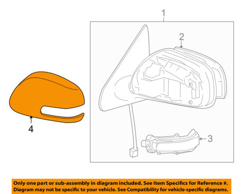 VW VOLKSWAGEN OEM Door Side Rear View-Mirror Cover Cap Trim Right 5N0857538GRU