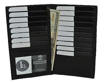 New RFID Blocking Premium Genuine Leather Bifold Credit Card ID Holder