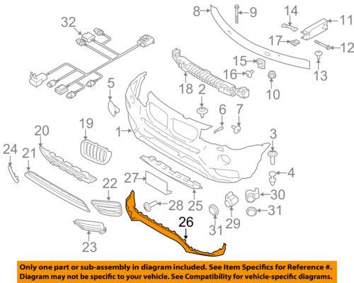 BMW OEM 15-16 X3 Front Lower Bumper-Spoiler Chin Lip Splitter 51117389