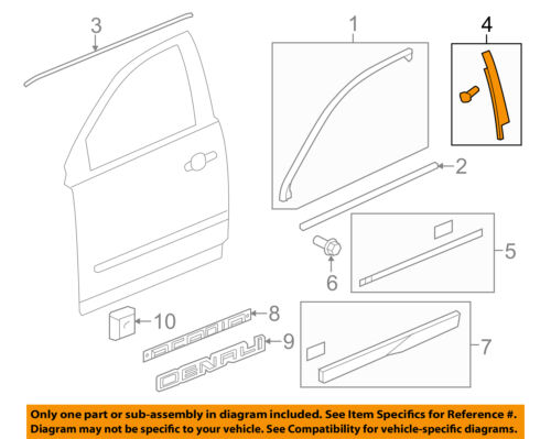 GM OEM Front Door-Applique Window Trim Right 84263145