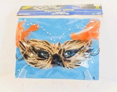 Vintage Fright Factory Fantasy Feather Owl Masquerade Mask Halloween Mardi Gras