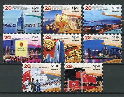 Grenada 2017 MNH Hong Kong Return to China 8v Set Bridges Architecture Stamps