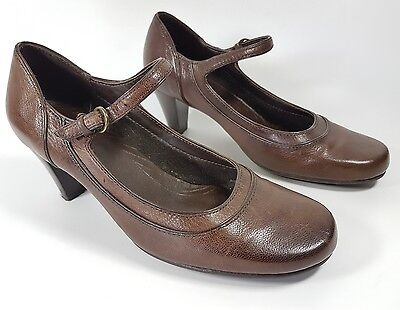 Clarks brown leather mid heel shoes uk 4 eu 37