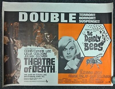 THEATRE OF DEATH /THE DEADLY BEES  1967 ORIGINAL DOUBLE BILL UK QUAD  POSTER