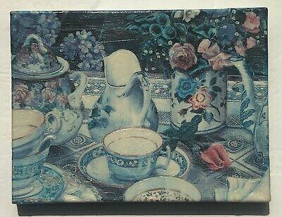"Susan Rios Canvas Moments ""Tea On The Patio"" COA 8"" X 6"" Signed Vintage 1995"