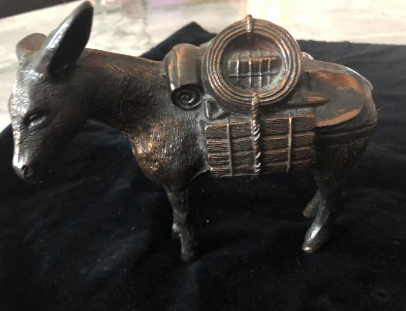 """Vintage """"Bronze"""" Pack Mule Donkey Burro -  Cast Metal"""