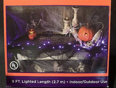 Halloween Lighted Garland 35 Purple Lights on Black Gauze 9 Ft. Indoor Outdoor