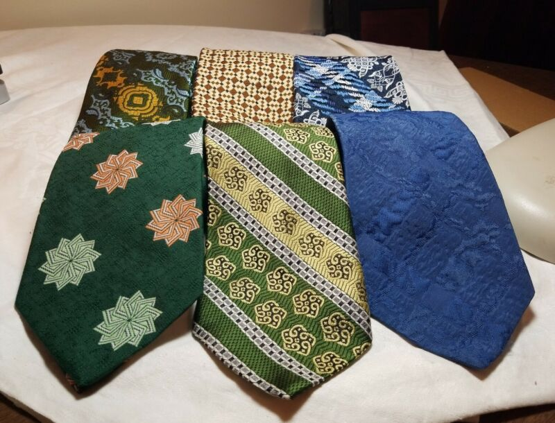 Lot of 6 Vtg 1970s Mens Neck Ties Sears The Mens Store Polyester Retro Patterns