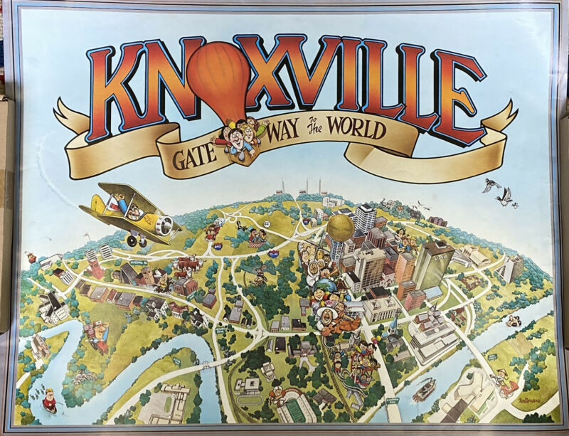 Vintage Knoxville TN Gateway To The World City Poster UT Vols Tim Bowers 1982
