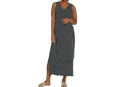 AnyBody Loungewear Regular V-Neck Cozy Knit Maxi Dress Black Stripe Large Size