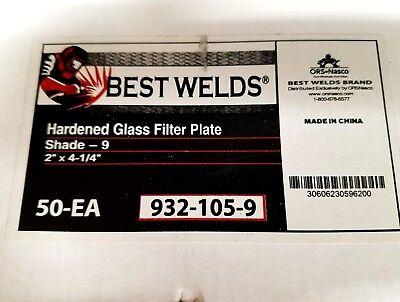 "BOX OF 50 BEST WELDS HARDENED GLASS FILTER PLATES - SHADE 9 (2"" X 4 1/4"") (NIB)"