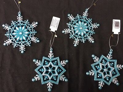 4 x Turquoise Blue & Silver Snowflakes Christmas Baubles Tree Hangers Decoration - Blue Snowflakes Decorations