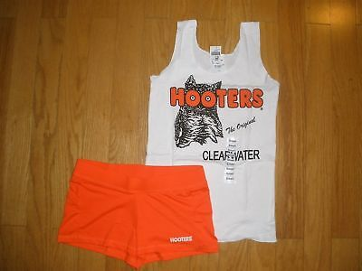 NEW HOOTERS GIRL WHITE UNIFORM TANK/SHORTS HOSE/SOCKS HALLOWEEN COSTUME XS S M L (Hooters Girl Halloween)