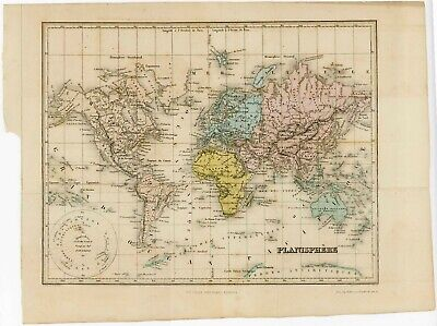 1864 WORLD MAP from JUSTIN LALLIER STAMP ALBUM