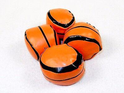 Lot of 4 Footbags, Basketball Design, Faux Leather, Fun Hackey Sack Kicking Game