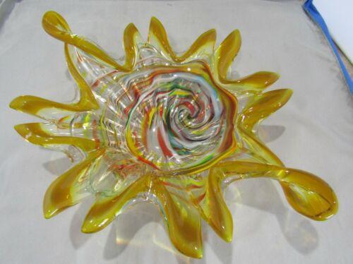 VINTAGE MURANO GLASS AMBER & COLORFUL SWIRL PATTERN ASHTRAY CANDY DISH