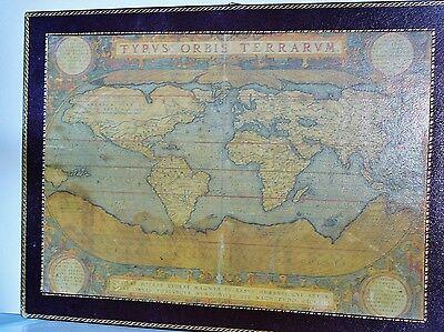 ORTELIUS ABRAHAM - Typvs Orbis Terrarvm- Genuine Leather Map Mounted wood Plaque