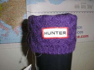 Hunter Welly Warmers Socks Aubergine Basketweave Large S24192