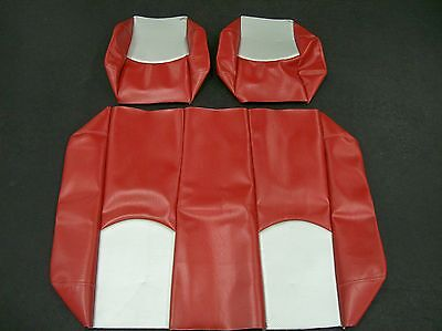 Club Car Ds '00 & Up Rear Flip Seat And Custom Seat Cover Combo(red/silver Cf)