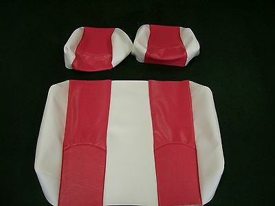 Club Car Ds '99 & Down Rear Flip Seat And Custom Seat Covers Combo(white W/pink)