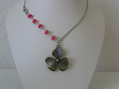 Fossil Brand Spring Flower/watermelon Bead Necklace