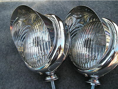NEW PAIR CHROME SMALL 12-VOLT VINTAGE STYLE CLEAR COLOR FOG LIGHTS WITH VISORS