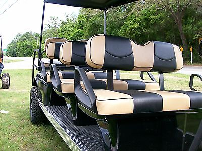 Club Car Ds '00 And Up Rear Flip Seat & Front Seat Cover Re(tan/black- Piping)