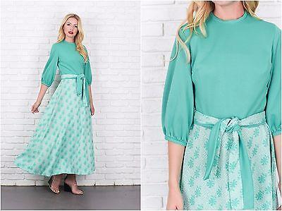 Vintage 70s Green Mod Dress Leaf Print Maxi Medium M