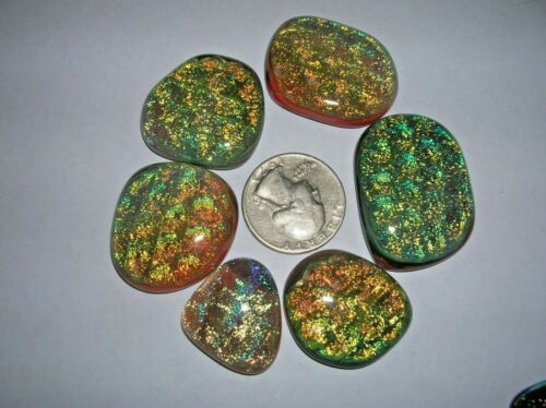 B 5 Dichroic glass cabochons ,extra large lots special colors low price