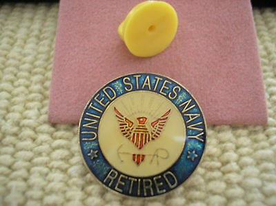 NAVY ENAMEL HAT PIN - U. S. NAVY RETIRED