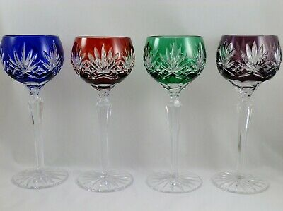 -  AJKA Crystal Cut to Clear Hock Wine Goblets 8  1/4