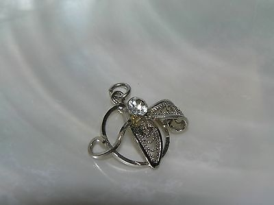 Vintage Small Silvertone Open Circle with Wire Leaves & Clear Rhinestone Charm