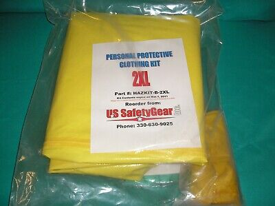 Us Safetygear Xxl Yellow Coverall Chemical Hazmat Suit W Hood Gloves Booties