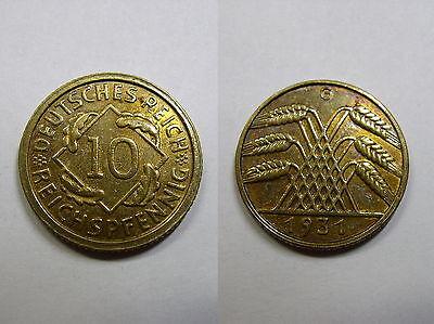 Weimar , 10  Reichspfennig 1931 G vz-ST , Jäger 317 , # 294