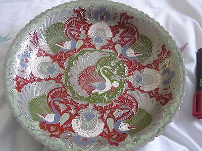 Large vintage metal bowl / wall hanging - peacock & birds
