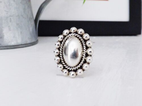 Mexico Sterling Silver 925 Bead Ball Concho Mexican Modernist Signed Size 7 Ring