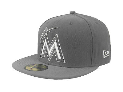 Basic Gray 59fifty Fitted Cap (New Era 59Fifty Mens MLB Cap Florida Marlins League Basic Fitted Hat Storm)