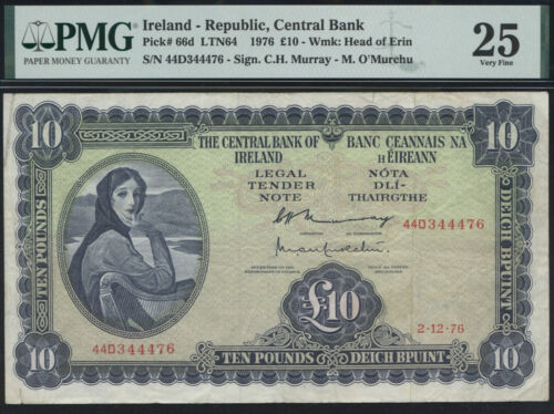 Ireland 10 Pounds 1976 P.66d PMG 25