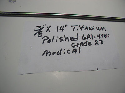 38 Titanium Rod Round 6 Al-4veli Grade 23 1 Pc. 14 Long Medical Grade