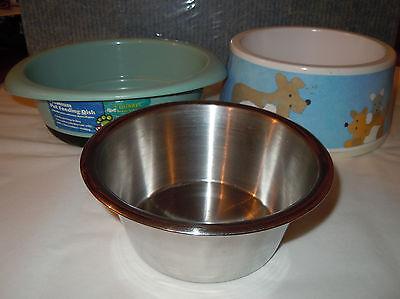 Three (3) Dog Bowls/Feeders - 1 Stainless Steel, 2 Plastic